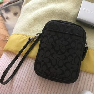 Black coach monogram camera case